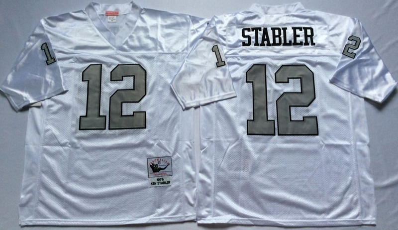 Raiders 12 Ken Stabler White Silver M&N Throwback Jersey
