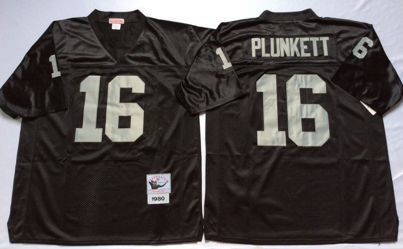 Raiders 16 Jim Plunkett Black M&N Throwback Jersey