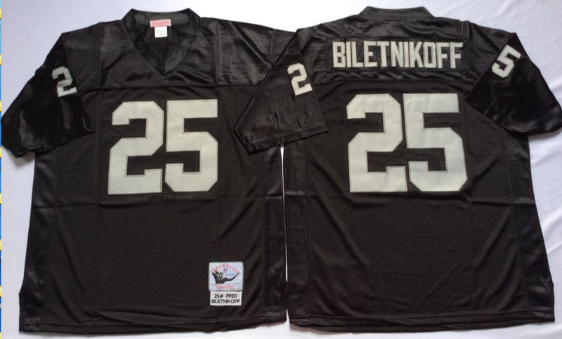 Raiders 25 Fred Biletnikoff Black M&N Throwback Jersey