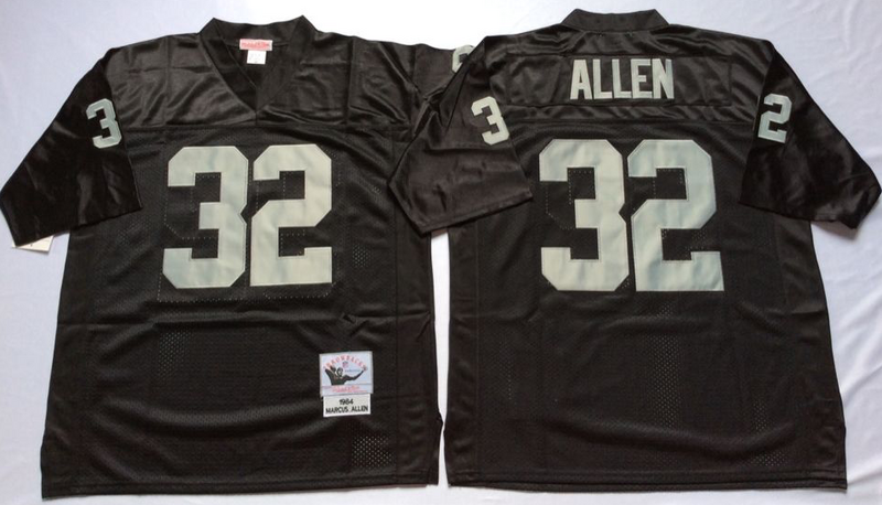 Raiders 32 Marcus Allen Black M&N Throwback Jersey