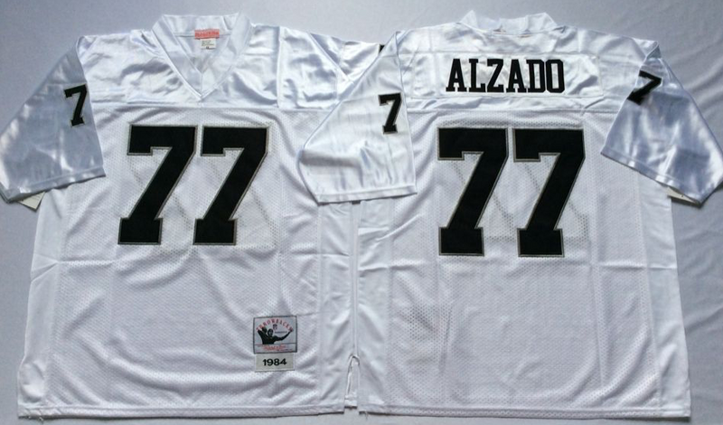 Raiders 77 Lyle Alzado White M&N Throwback Jersey