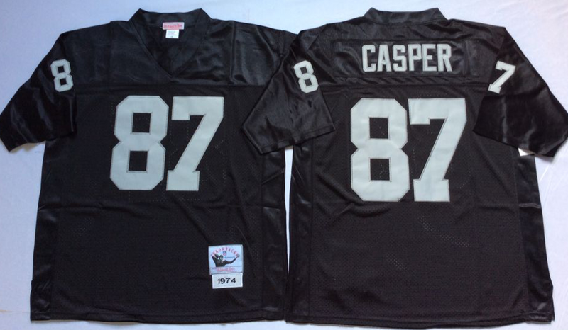 Raiders 87 Dave Casper Black M&N Throwback Jersey