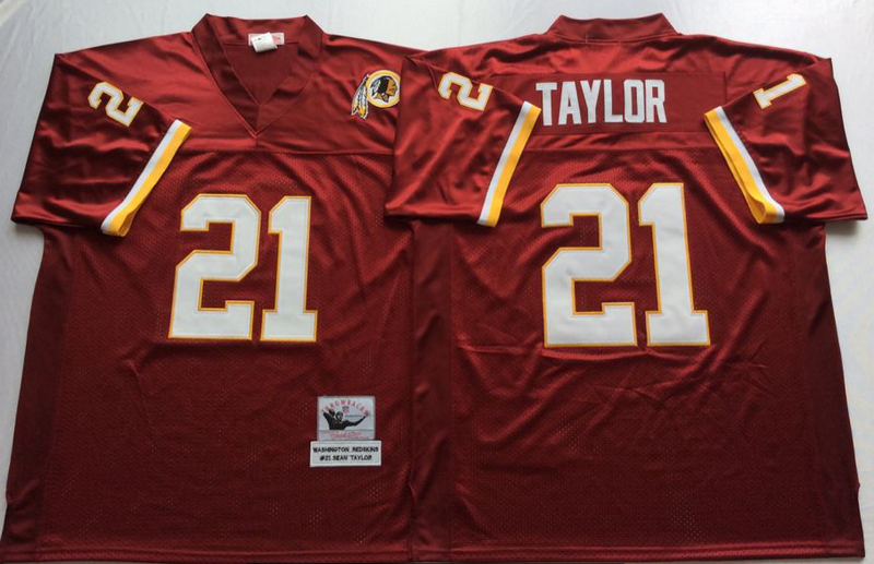 Redskins 21 Sean Taylor Red M&N Throwback Jersey