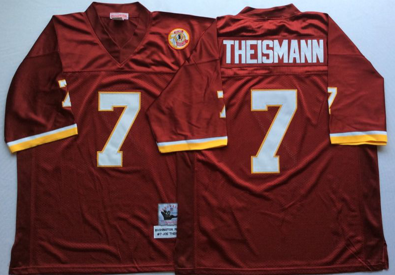 Redskins 7 Joe Theismann Red M&N Throwback Jersey