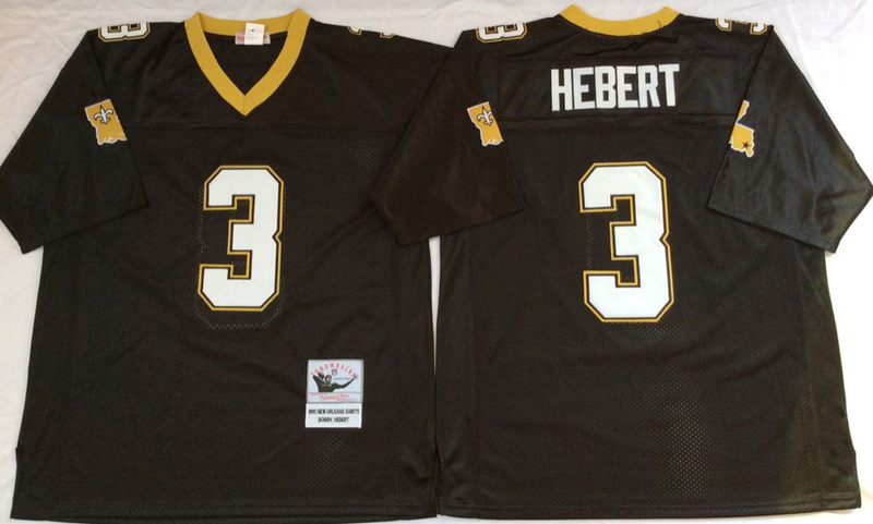 Saints 3 Bobby Hebert Black M&N Throwback Jersey