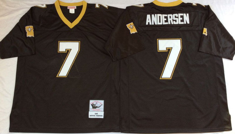 Saints 7 Morten Anderson Black M&N Throwback Jersey