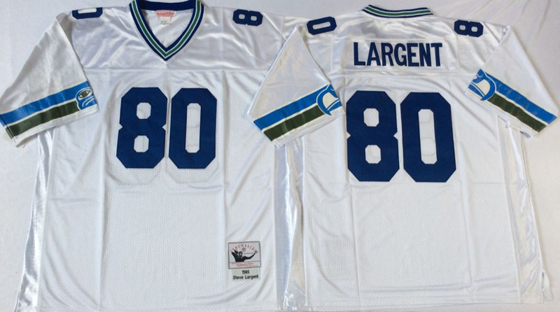 Seahawks 80 Steve Largent White M&N Throwback Jersey