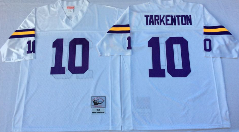 Vikings 10 Fran Tarkenton White M&N Throwback Jersey