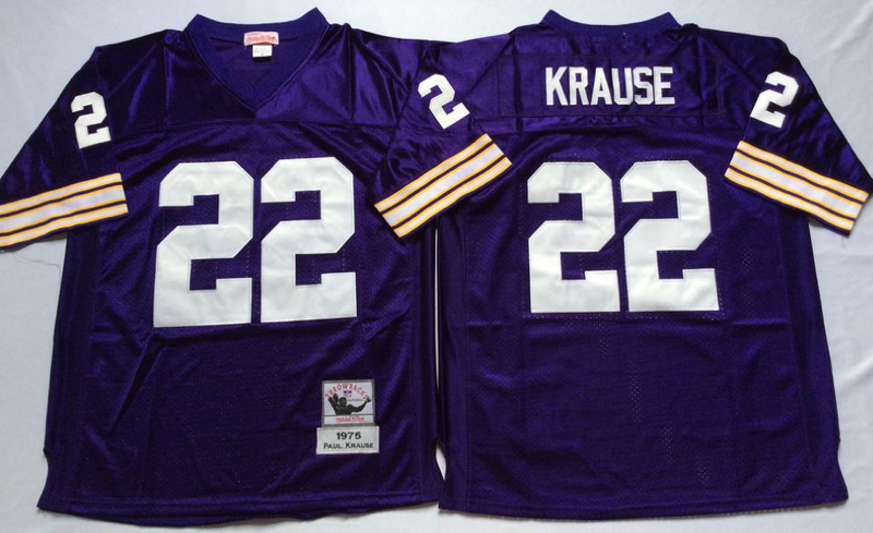 Vikings 22 Paul Krause Purple M&N Throwback Jersey