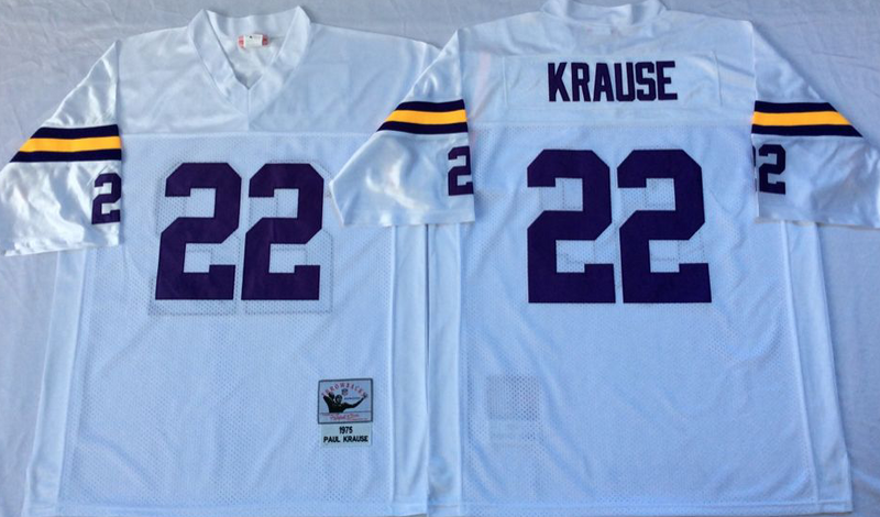 Vikings 22 Paul Krause White M&N Throwback Jersey