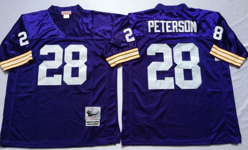 Vikings 28 Adrian Peterson Purple M&N Throwback Jersey