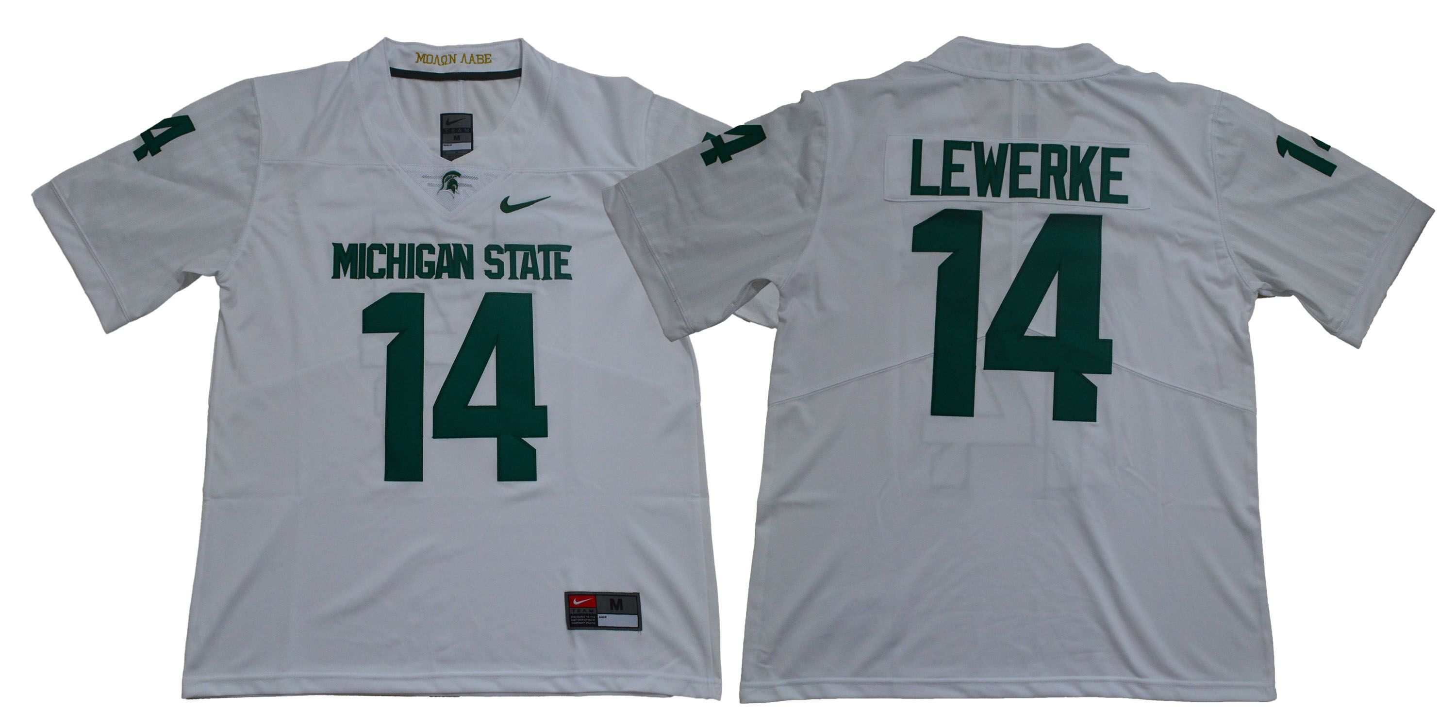 Michigan State Spartans 14 Brian Lewerke White Nike College Football Jersey