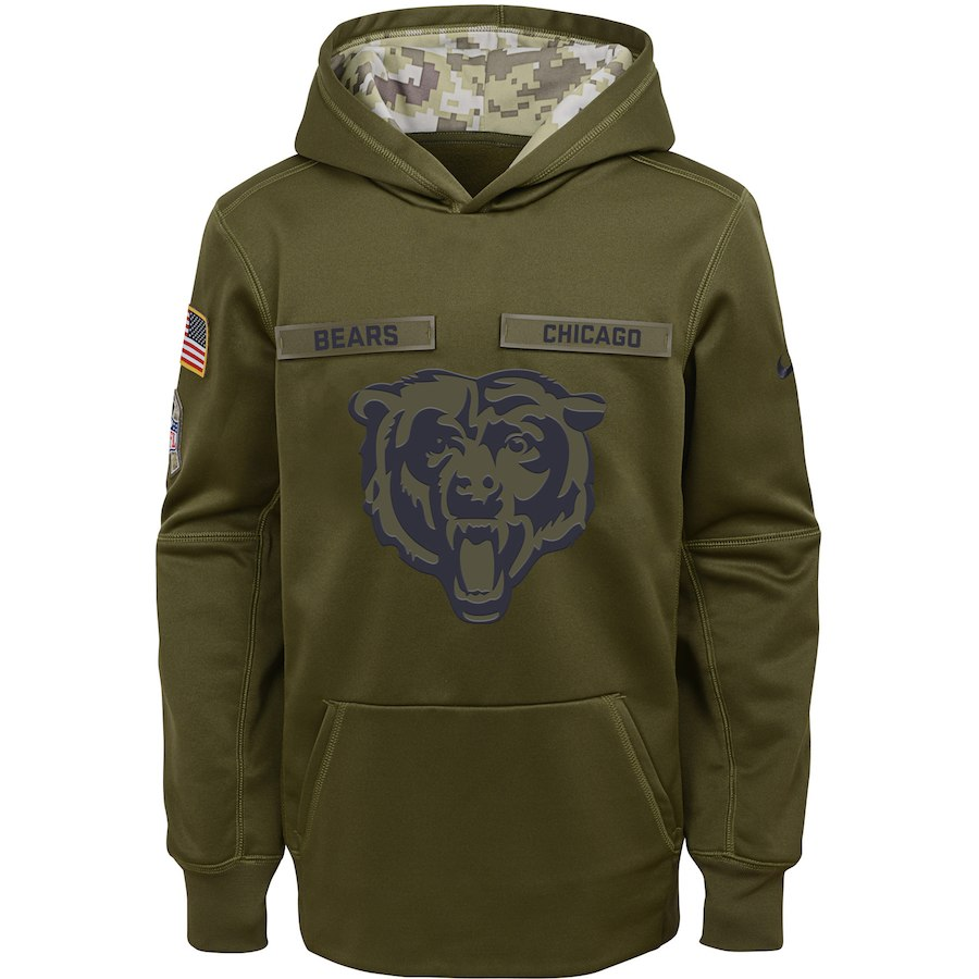 Chicago Bears Nike Youth Salute to Service Pullover Performance Hoodie Green