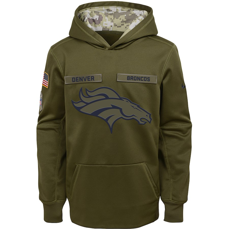 Denver Broncos Nike Youth Salute to Service Pullover Performance Hoodie Green
