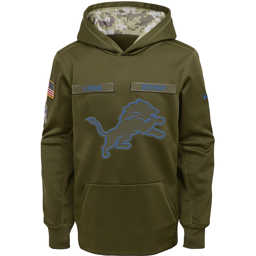 Detroit Lions Nike Youth Salute to Service Pullover Performance Hoodie Green