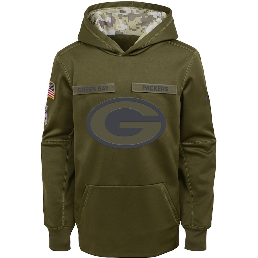Green Bay Packers Nike Youth Salute to Service Pullover Performance Hoodie Green