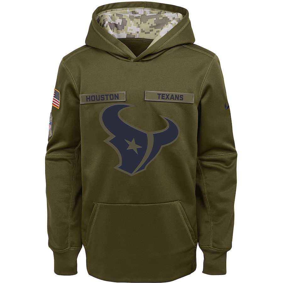 Houston Texans Nike Youth Salute to Service Pullover Performance Hoodie Green