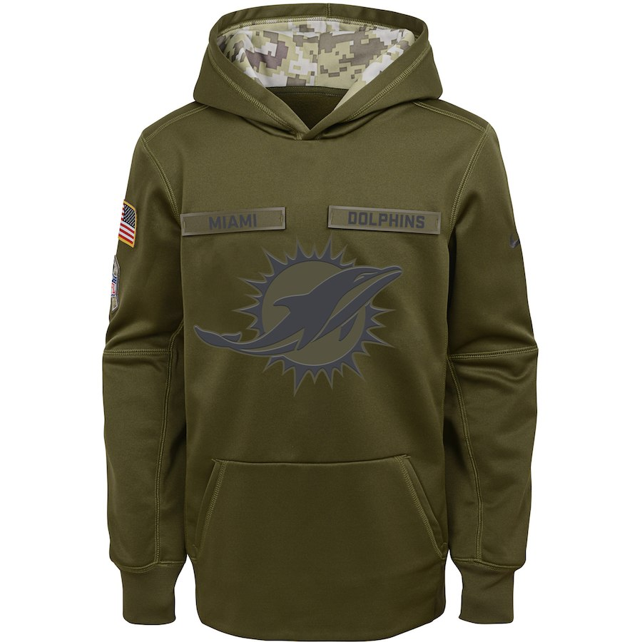Miami Dolphins Nike Youth Salute to Service Pullover Performance Hoodie Green