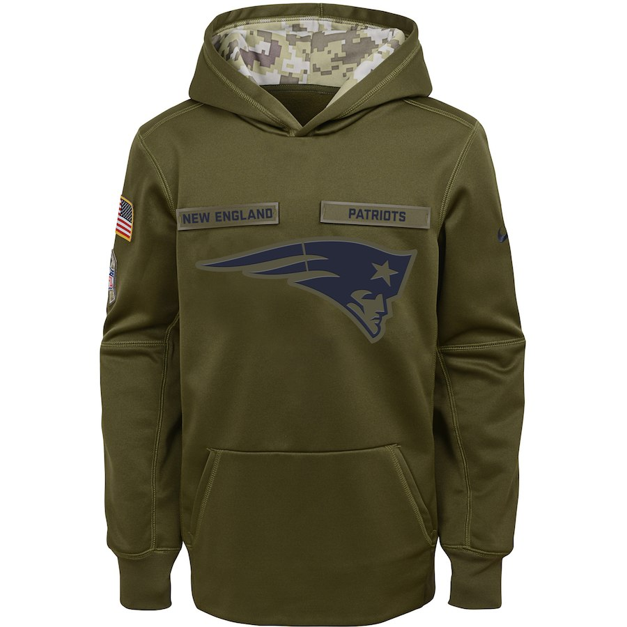 New England Patriots Nike Youth Salute to Service Pullover Performance Hoodie Green