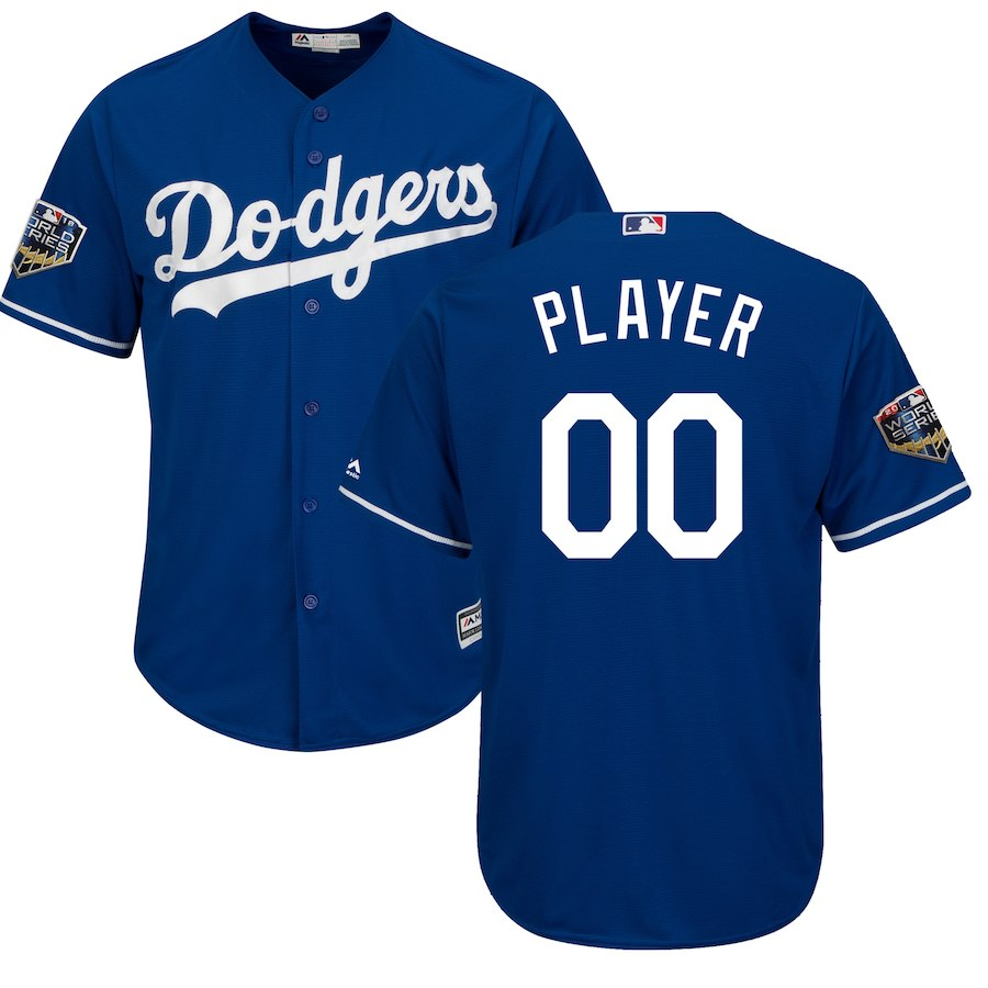 Dodgers Royal Men's 2018 World Series Cool Base Customized Jersey
