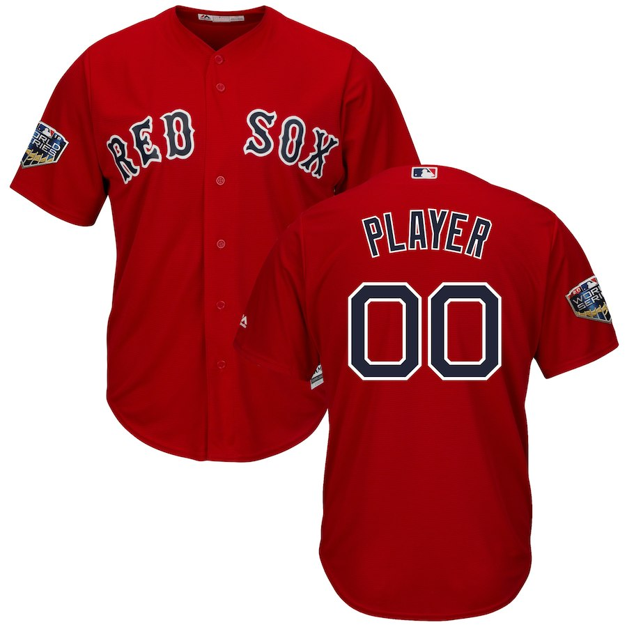 Red Sox Scarlet Men's 2018 World Series Cool Base Customized Jersey
