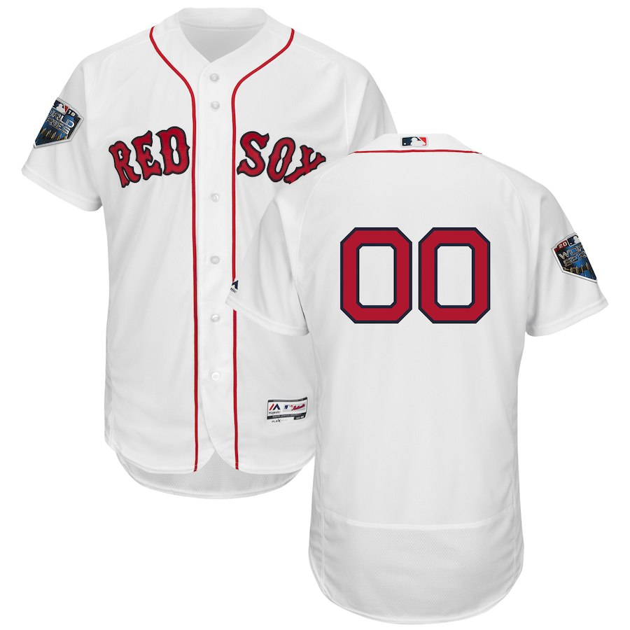 Red Sox White Men's 2018 World Series Flexbase Customized Jersey