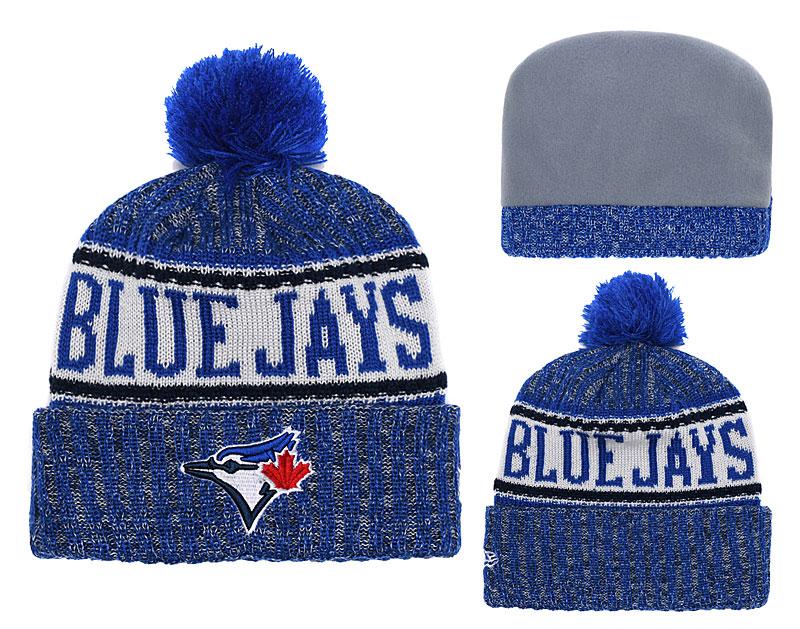 Blue Jays Team Logo Royal Cuffed Knit Hat With Pom YD
