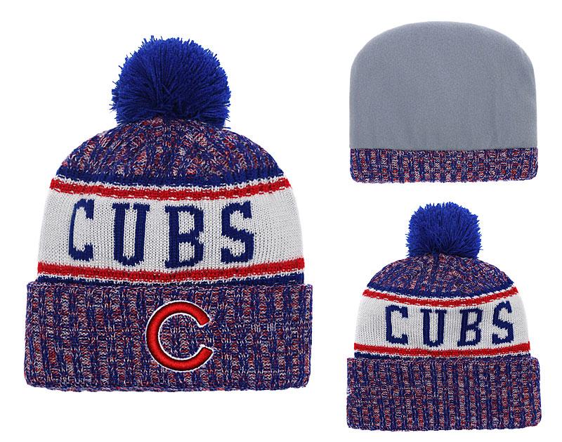 Cubs Team Logo Big Fan Cuffed Knit Hat With Pom YD