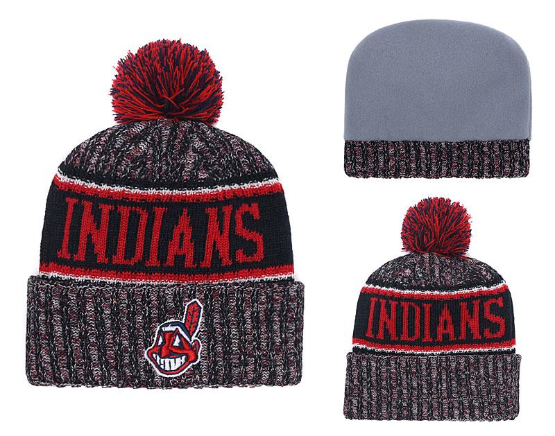 Indians Team Logo Cuffed Knit Hat With Pom YD