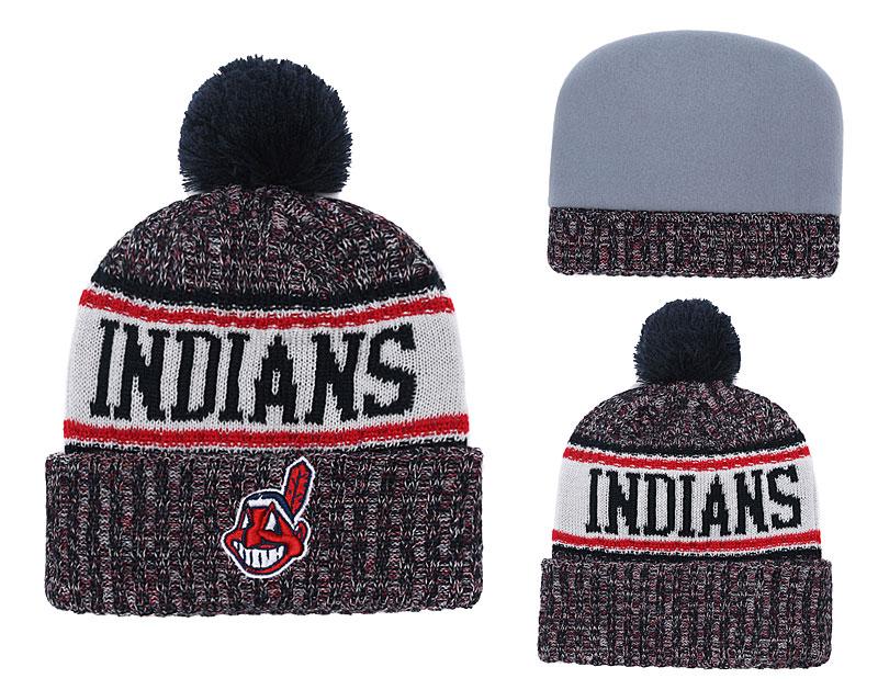 Indians Team Logo Cuffed Navy Knit Hat With Pom YD