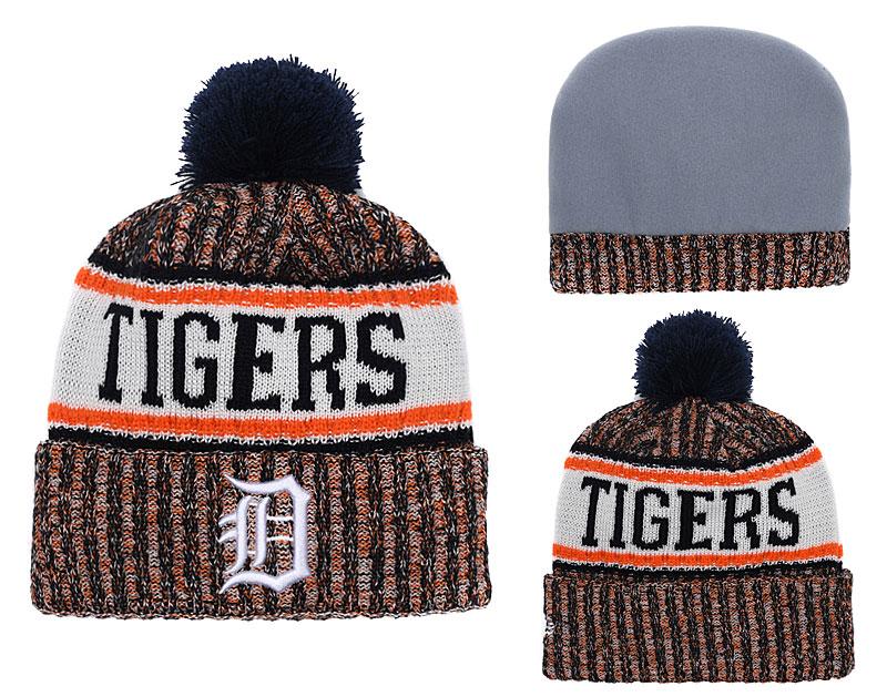 Tigers Team Logo Cuffed Knit Hat With Pom YD