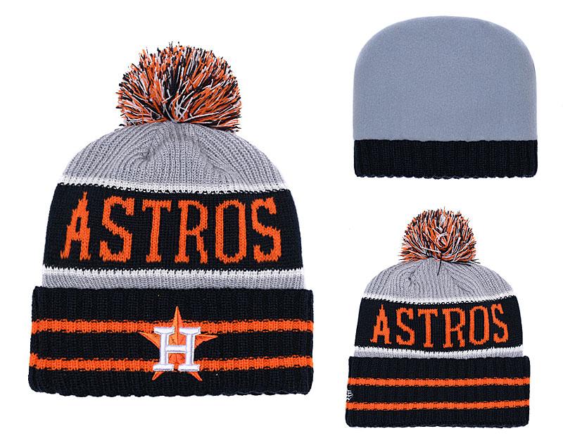 Astros Black Banner Block Cuffed Knit Hat With Pom YD