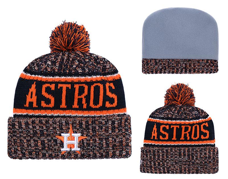 Astros Orange Banner Block Cuffed Knit Hat With Pom YD