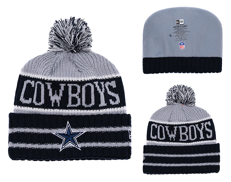 Cowboys Black Banner Block Cuffed Knit Hat With Pom YD