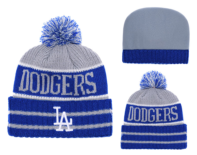 Dodgers Royal Banner Block Cuffed Knit Hat With Pom YD