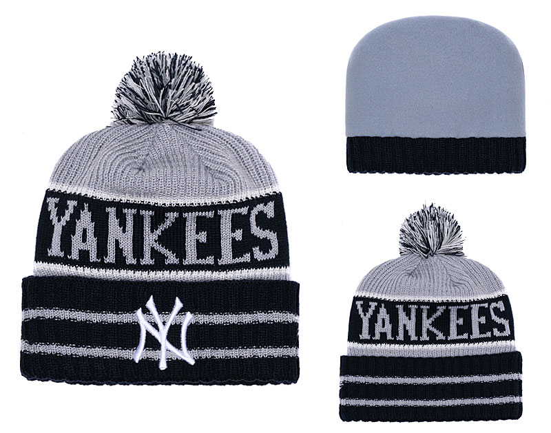 Yankees Black Banner Block Cuffed Knit Hat With Pom YD