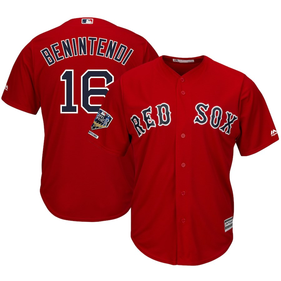 Red Sox 16 Andrew Benintendi Scarlet 2018 World Series Champions Alternate Cool Base Player Jersey