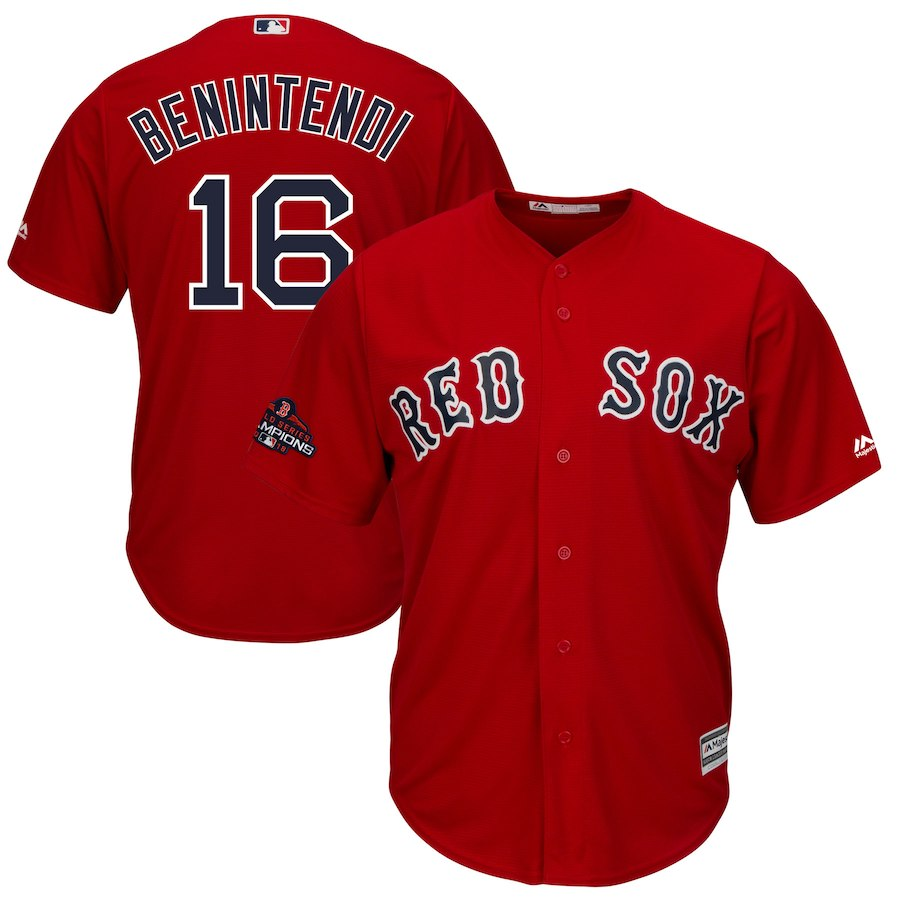 Red Sox 16 Andrew Benintendi Scarlet 2018 World Series Champions Team Logo Player Jersey