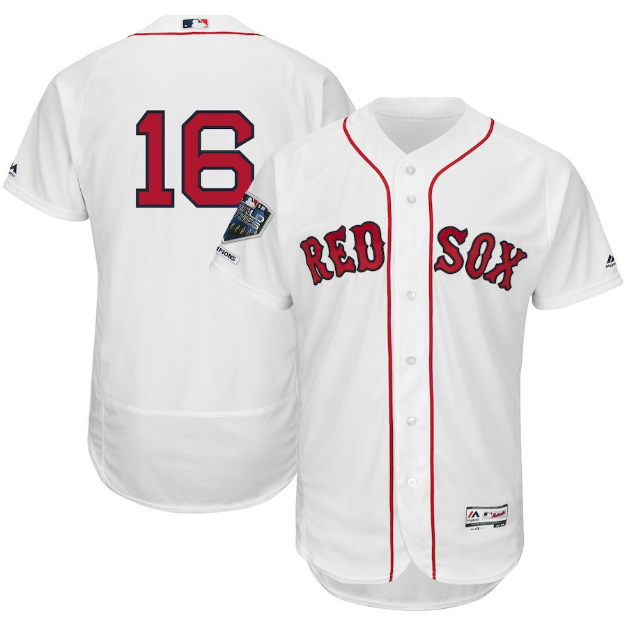 Red Sox 16 Andrew Benintendi White 2018 World Series Champions Home Flexbase Player Jersey