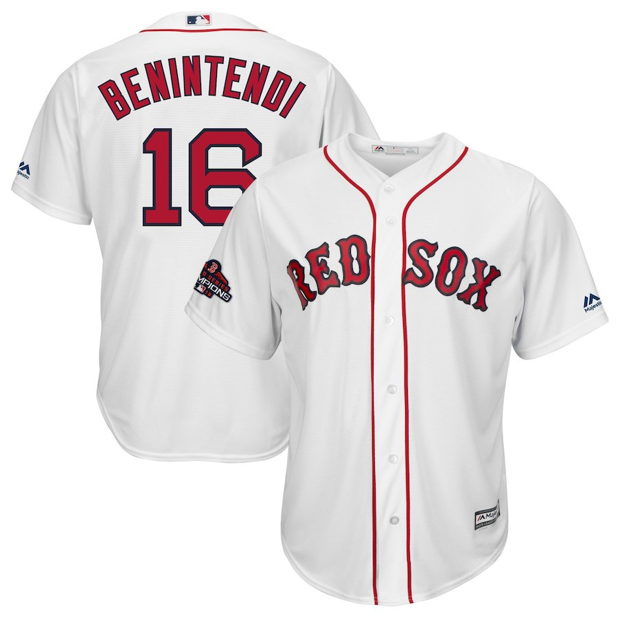 Red Sox 16 Andrew Benintendi White 2018 World Series Champions Team Logo Player Jersey