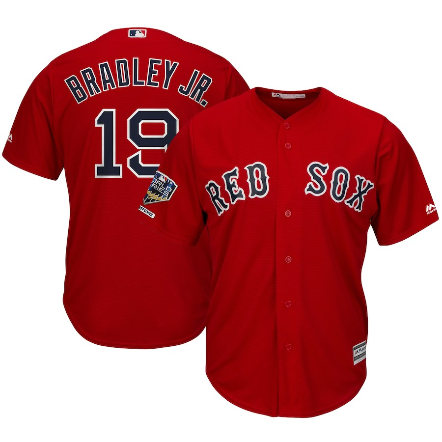 Red Sox 19 Jackie Bradley Jr. Scarlet 2018 World Series Champions Alternate Cool Base Player Jersey