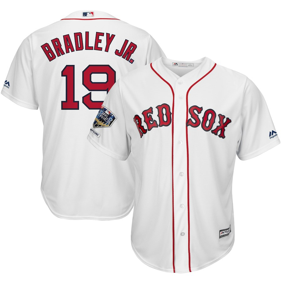 Red Sox 19 Jackie Bradley Jr. White 2018 World Series Champions Home Cool Base Player Jersey