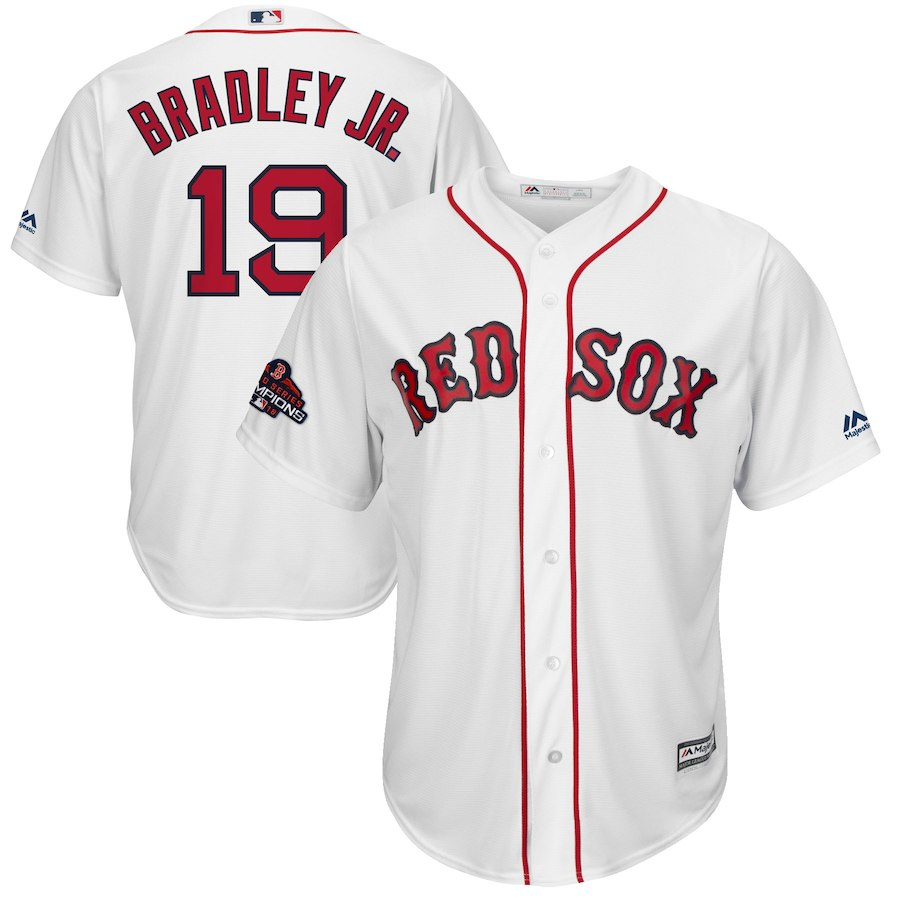 Red Sox 19 Jackie Bradley Jr. White 2018 World Series Champions Team Logo Player Jersey