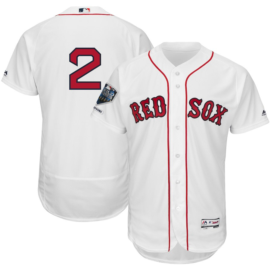 Red Sox 2 Xander Bogaerts White 2018 World Series Champions Home Flexbase Player Jersey