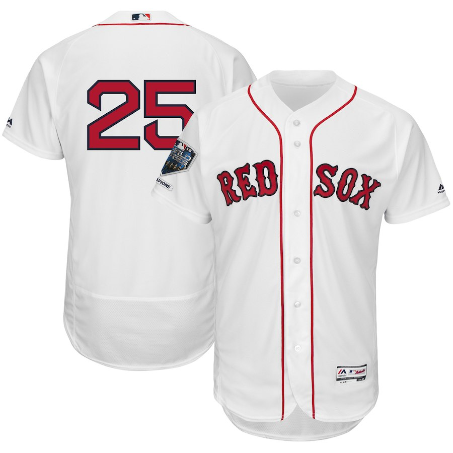 Red Sox 25 Steve Pearce White 2018 World Series Champions Home Flexbase Player Jersey