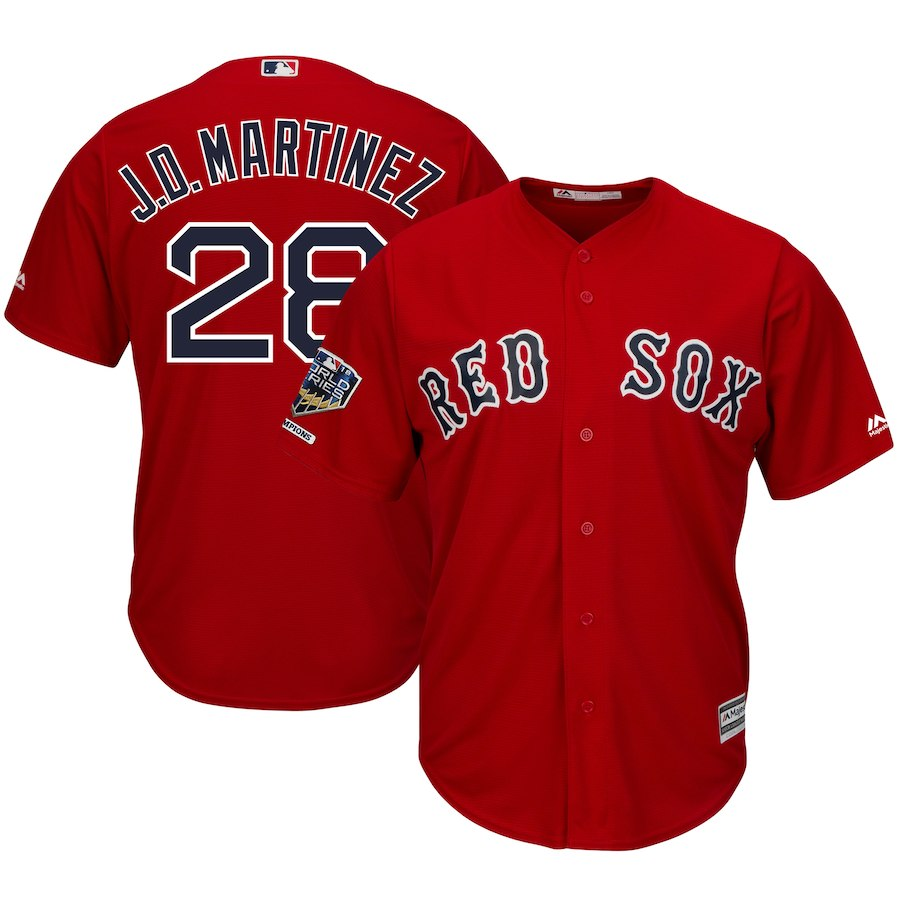 Red Sox 28 J.D. Martinez Scarlet 2018 World Series Champions Alternate Cool Base Player Jersey