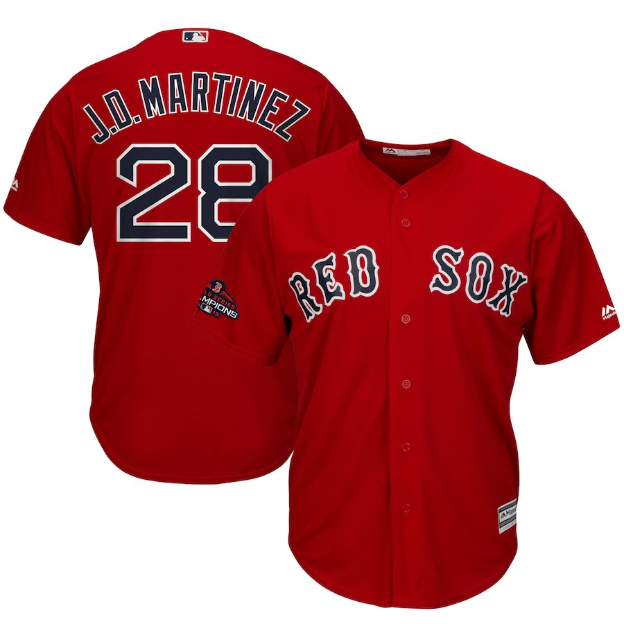 Red Sox 28 J.D. Martinez Scarlet 2018 World Series Champions Team Logo Player Jersey