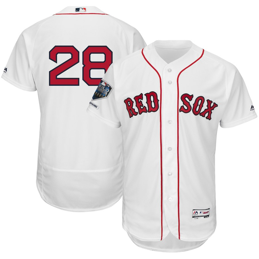 Red Sox 28 J.D. Martinez White 2018 World Series Champions Home Flexbase Player Jersey