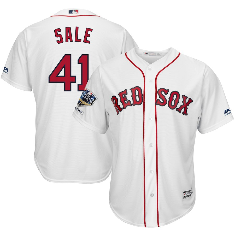 Red Sox 41 Chris Sale White 2018 World Series Champions Home Cool Base Player Jersey