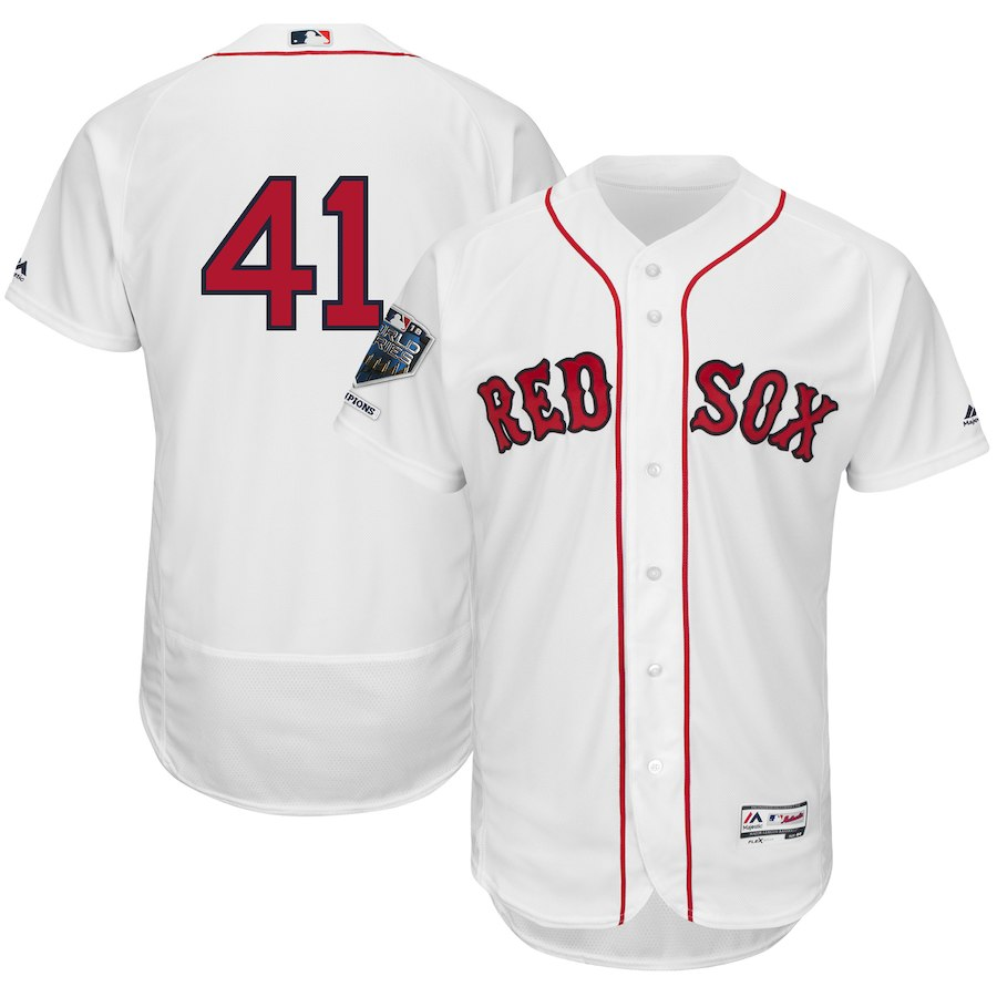 Red Sox 41 Chris Sale White 2018 World Series Champions Home Flexbase Player Jersey